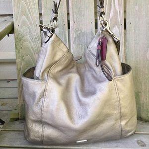 Coach metallic hobo slouch purse crossbody silver